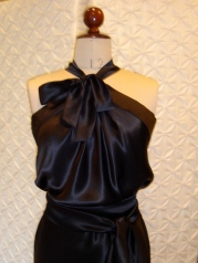 silk satin bow neck dress