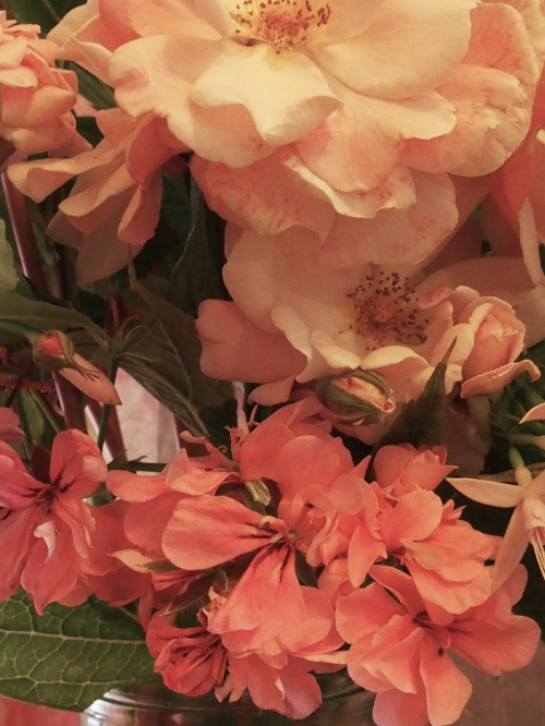 pink floral arrangement detail