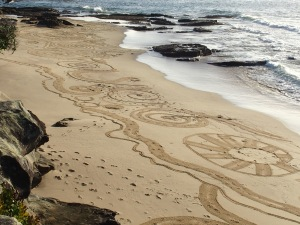 sand drawing at Blackwoods Beach