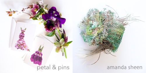 petal & pins pink hellebore and purple iris cards