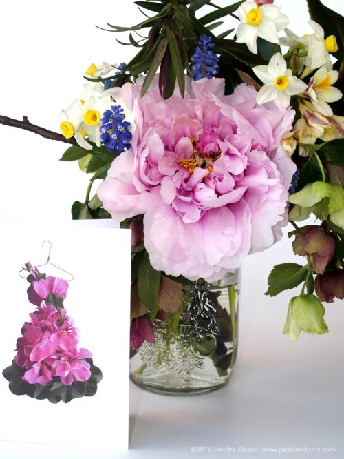 petal & pins geranium dress card and spring vase