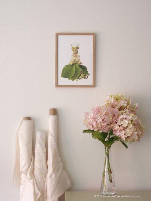 petal & pins hydrangea dress print and silk cloth tableau