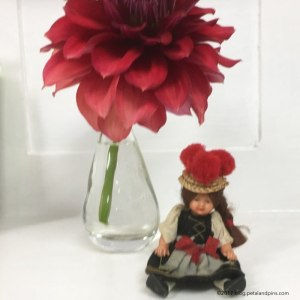 dahlia and pom pom hat