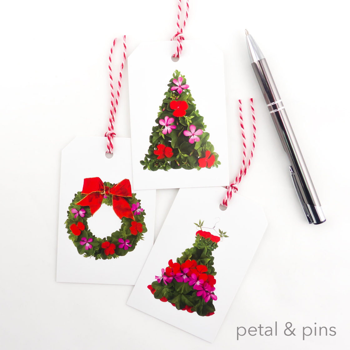 trio of petal & pins xmas geranium gift tags