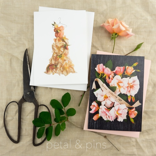 petal & pins Mothers Day card and Perle d'Or card